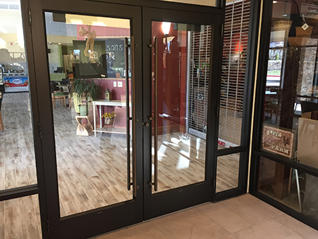 Commercial glass door installation at Talbott Glass in Elkins, WV