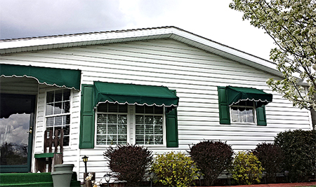 Residential awnings at Talbott Glass in Elkins, WV